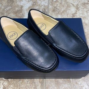 1901 Boys Black Faux Leather Dress Slip On Shoes